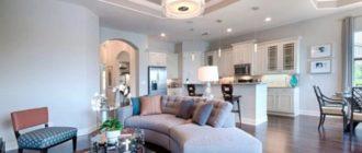 Зонирование большого помещения потолочными нишами
