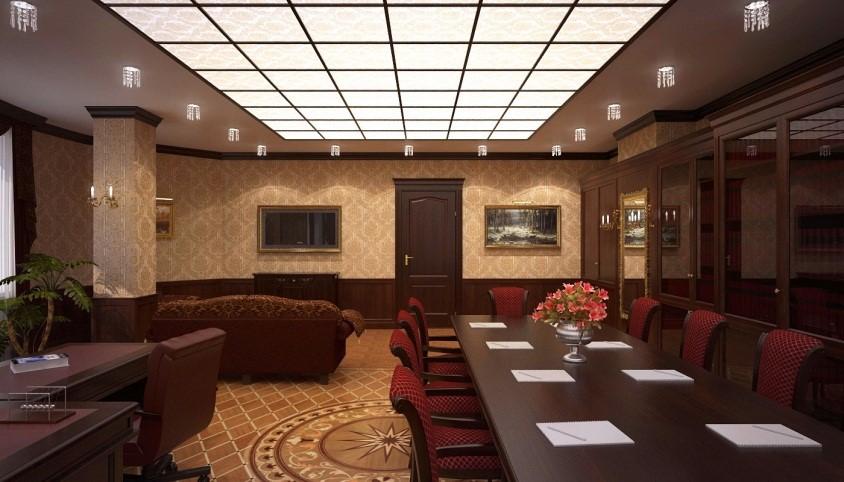 Кассетный потолок из рельефных стеклянных панелей