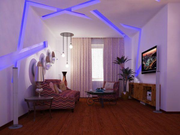 Декоративная подсветка светодиодами создает в помещении особую атмосферу