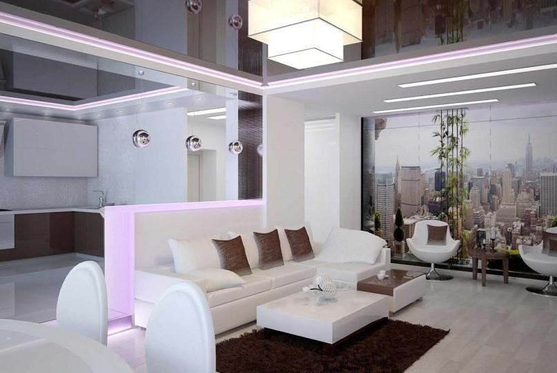 Шоколадный потолок для кухни-гостиной